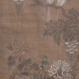 Chinese school, ink and colours on silk, 19th C.: Birds among flowery branches