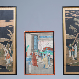 Chinese school, ink and colours on silk, 19th C.: Three mythological scenes