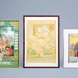 Three various Indian lithographs in colours, 20th C.