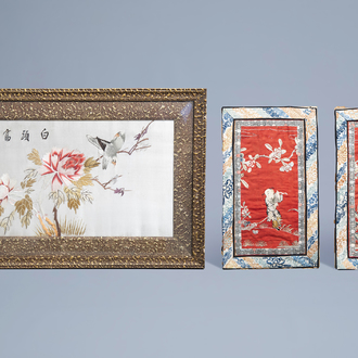Three various Chinese silk embroideries, 19th/20th C.