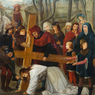 French or Belgian school: Simon of Cyrene helping Christ to carry the cross, oil on copper, 19th C.