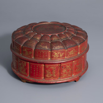 A Chinese painted and red lacquered box and cover with a sweetmeat set, 18th/19th C.