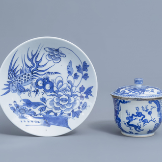 A Chinese 'Bleu de Hue' jar and cover and a 'phoenix' plate for the Vietnamese market, 19th/20th C.