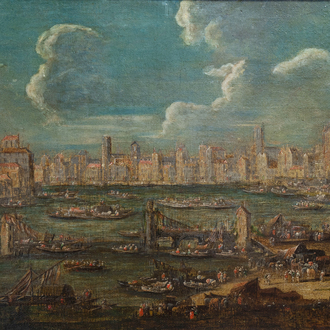 Flemish school, attributed to Peter Casteels II (ca. 1650-1701): Animated harbor view, oil on canvas, 17th/18th C.