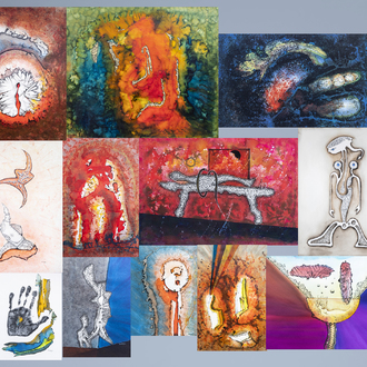 Henry Lejeune (1930-2014): An important and interesting collection of twelve works in mixed media, with accompanying catalogue and documentation