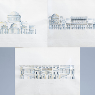 Italian school: An interesting series of three architectural hand-coloured engravings, 19th C.