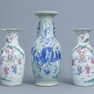 A pair of Chinese famille rose vases with figurative design all around and a blue and white celadon 'Immortals' vase, 19th C.