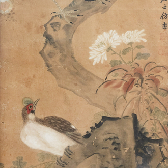 Chinese school, ink and colours on paper, 19th C. or earlier: Birds between blossoming branches