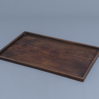 A large Chinese hongmu wooden opium tray, 19th C.