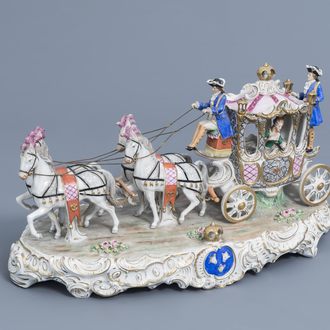 A group with a four-in-hand carriage in polychrome decorated Saxon porcelain, Sitzendorf mark, 20th C.