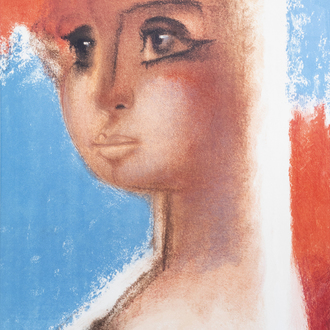 Roger Somville (1923-2014): A portrait of a young lady, lithograph in colours