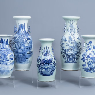 Five various Chinese blue, white and celadon vases, 19th/20th C.
