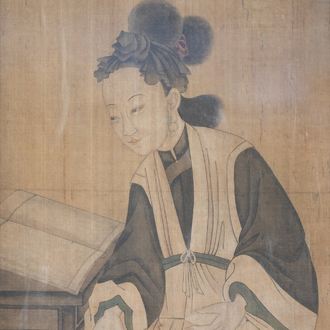Chinese school, ink and colours on silk, 18th/19th C.: A reading lady