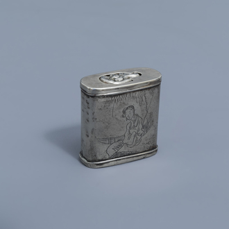 A Chinese paktong opium box and cover with a lady in a landscape and on the inside an erotic scene, ca. 1900