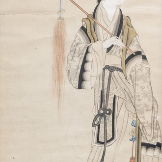 Chinese school, ink and colours on paper, Republic, 20th C.: Magu
