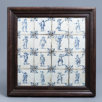 Sixteen Dutch Delft blue and white tiles with soldiers, 17th C.