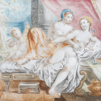 Italian school: The bed of love, gouache on parchment, 17th C.