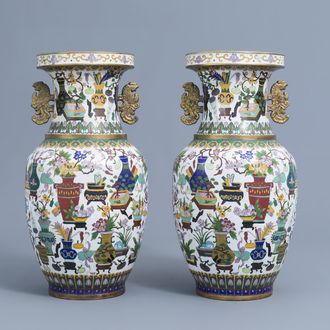 A pair of Chinese cloisonné vases with antiquities design, ca. 1900