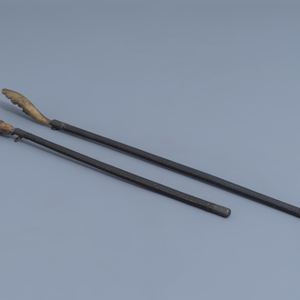 Two Chinese opium pipe ragers with horn handles, 19th C.