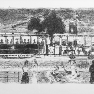 Paul Delvaux (1897-1944): 'Le tramway', lithograph, ed. E.A., dated (19)71