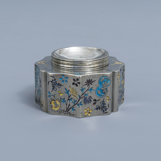 A rare Chinese enamelled paktong spittoon, 19th C.