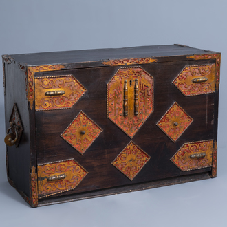 An Italian Baroque gilt mounted cabinet or bargenio with a nice interior, 17th C. and later