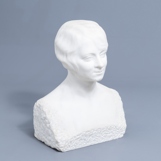 A. Hamois (19th/20th C.): A portrait buste of a lady, white marble