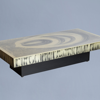 Marc D'Haenens (20th C.): A design coffee table with a brass top, 1970's