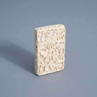 A Chinese richly carved ivory card case, Canton, 19th C.