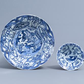 Two Chinese blue and white kraak porcelain klapmuts bowls with birds among flower branches, Wanli