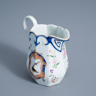 A Chinese famille rose English market export porcelain armorial jug with floral design, Qianlong/Jiaqing