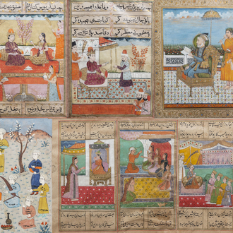 Five various Persian miniature paintings on paper, India, 19th/20th C.