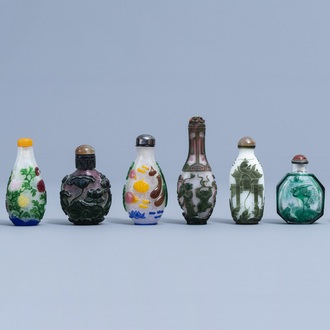 Eight Chinese multi-colour overlay glass snuff bottles, 20th C.