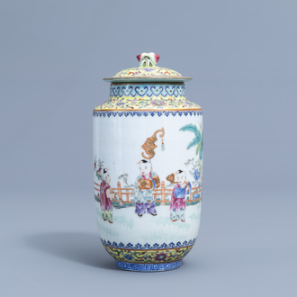 A Chinese famille rose vase and cover with playing children all around, Jiaqing mark, 20th C.