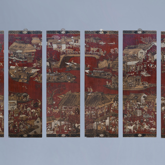 A Chinese six-fold lacquered and painted wooden room divider transformed into hanging panels, 19th C.
