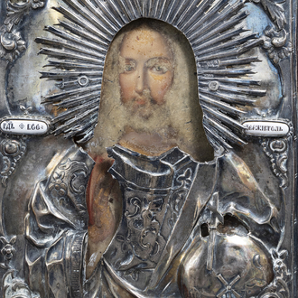 A Russian 'Christ Pantocrator' icon with silver and enamel riza, 19th C.