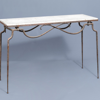 Attributed to René Prou (1889-1947): A wrought iron console table with 'pierre de Bourgogne' top, mid 20th C.