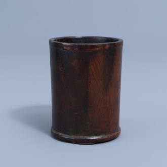 A Chinese wooden brush pot, Qing