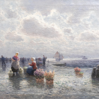 Henri Magerer (19th/20th C.): Flower seller on the quay, oil on canvas, dated 1897