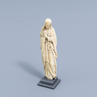 A French finely carved ivory Mother of Sorrows, ca. 1500