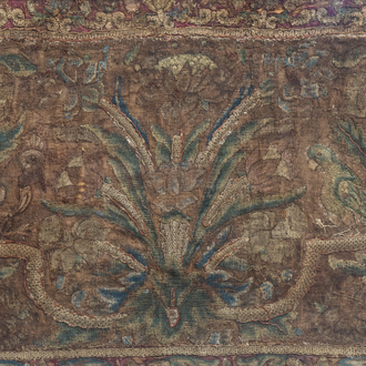 A horizontal embroidery with birds and floral design, probably 17th C.
