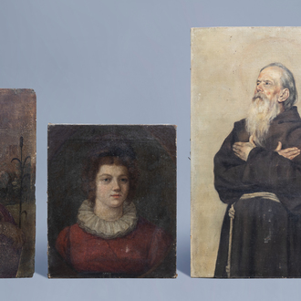 Flemish and Italian school: Three various works, oil on canvas and panel, 17th and 19th C.
