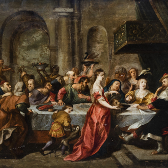 Flemish school, in the manner of Simon De Vos (1603-1676): The feast of Herod, oil on copper, 17th C.