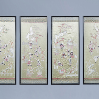 Four Chinese vertical silk embroideries with children playing and doing sports, Republic, 20th C.