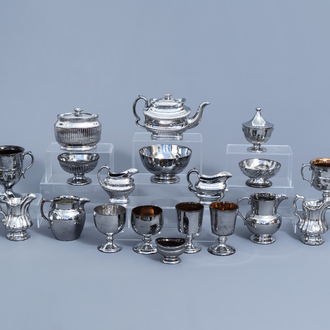 A varied collection of English silver lustreware items, 19th C.