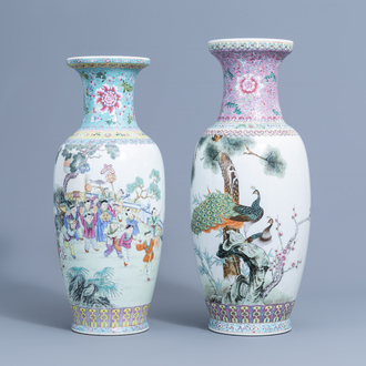Two Chinese famille rose vases with a procession and birds among flower branches, 20th C.