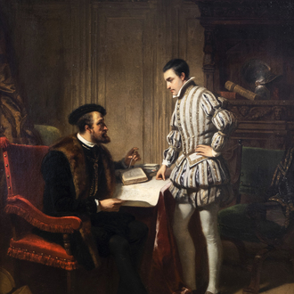 Hendrik Jacobus Scholten (1824-1907): Emperor Charles V shows his son Philip his future legacy, oil on panel, dated 1853