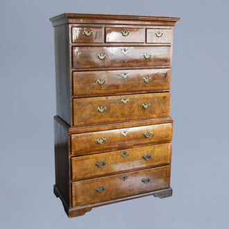 A George I walnut featherbanded chest-on-chest or tallboy, first half of the 18th C.
