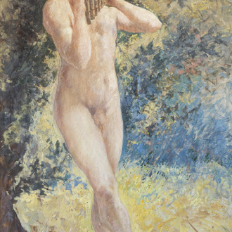 Emile Baes (1879-1954): Young naked pan flute player, oil on canvas