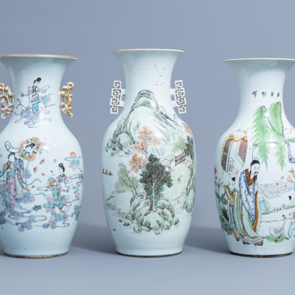 Three various Chinese famille rose and qianjiang cai vases, 19th/20th C.